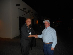Mark Stephens (Drury SW) President, welcoming incoming secretary Charlie Westrich (SeaWest Specialty Contracting)